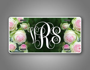 Custom Rose Monogram Auto Tag