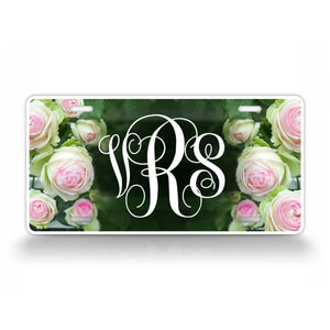 Personalized Photo Realistic Rose Monogram License Plate
