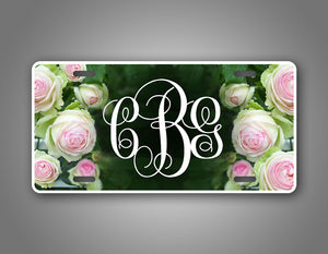 Custom Monogram Rose Personalized Tag