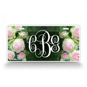 Personalized Rose Monogram Auto Tag