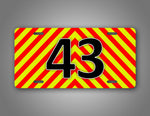 Bright Striped Any Text Ems Emergency Firefighter Personalized Auto Tag