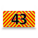 Bright Striped Personalized Ems Emergency Firefighter Custom License Plate