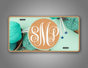 Custom Turquoise Yarn Knitting Crocheting License Plate