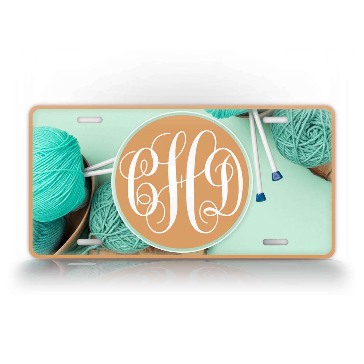 Personalized Turquoise Custom Yarn Monogram License Plate