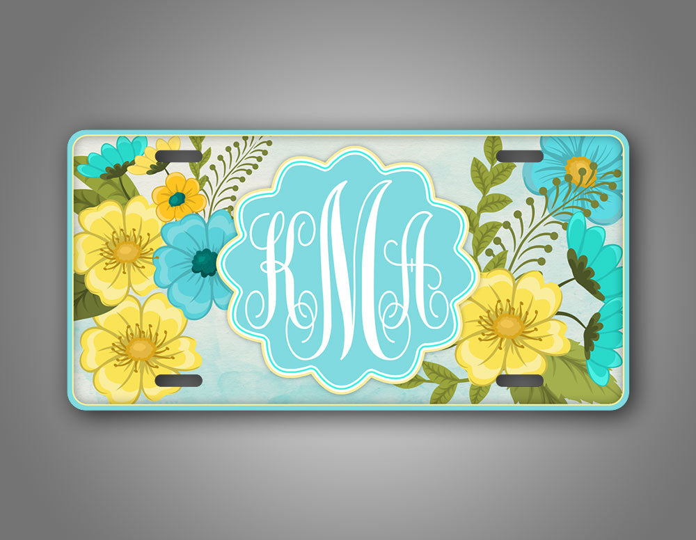 Customized Yellow And Blue Flowery Monogram Auto Tag