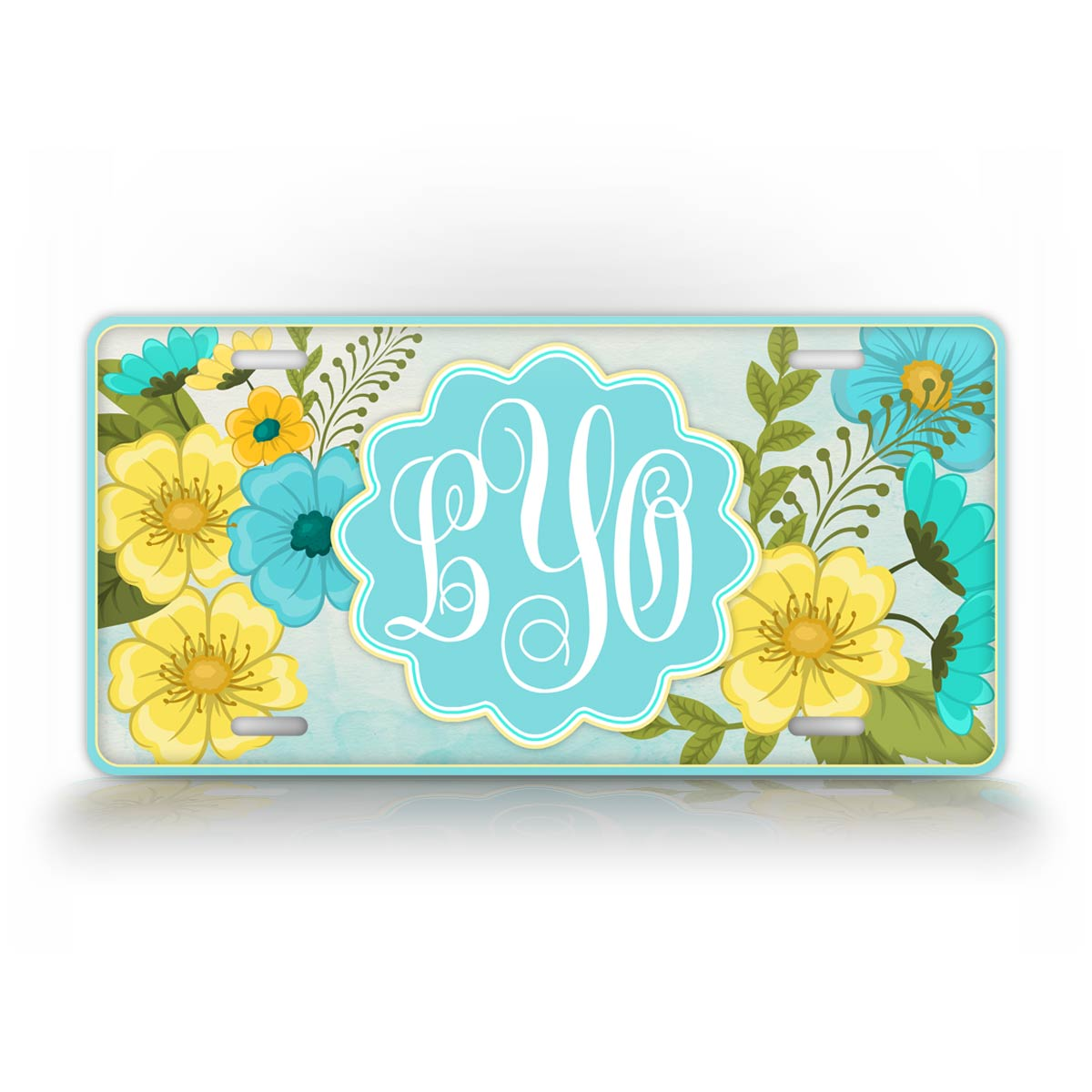 Personalized Colorful Flower Monogram License Plate