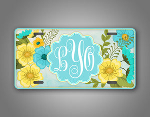 Custom Vibrant Flower Monogram License Plate