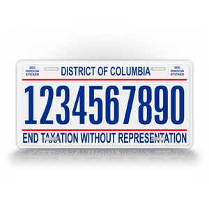Personalized District Of Columbia Washington DC License Plate