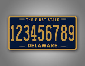 Personalized Blue And Gold Custom Delaware State License Plate
