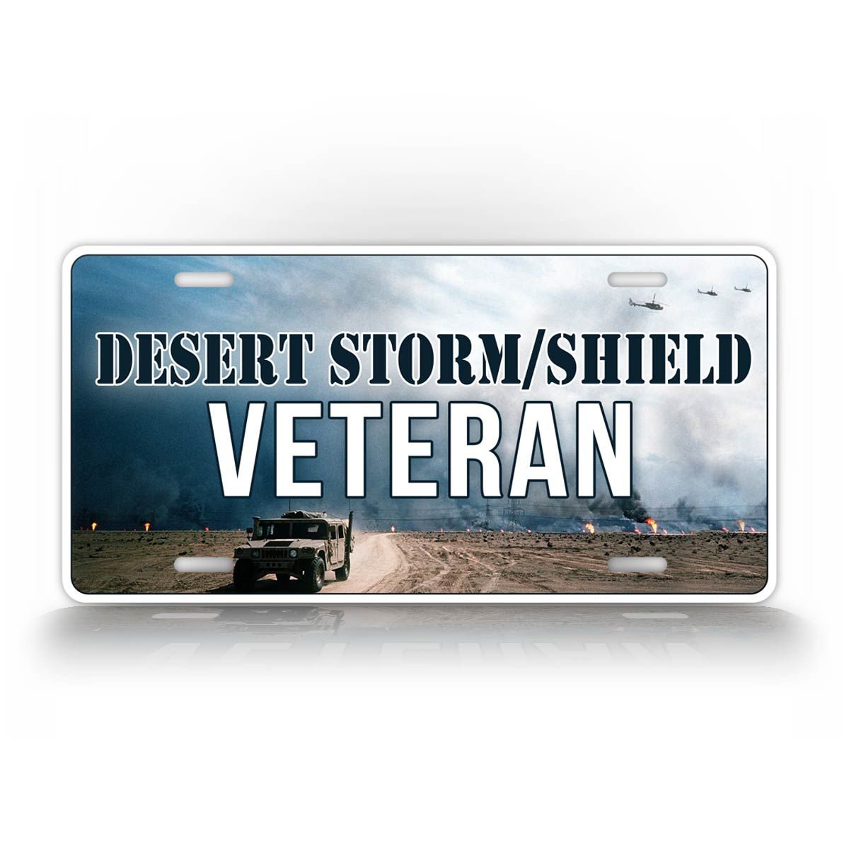 Desert Storm And Desert Shield Veteran License Plate With Humvee In Background