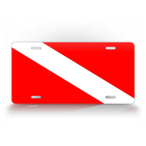 Diver Down Red And White Diving Flag License Plate Auto Tag