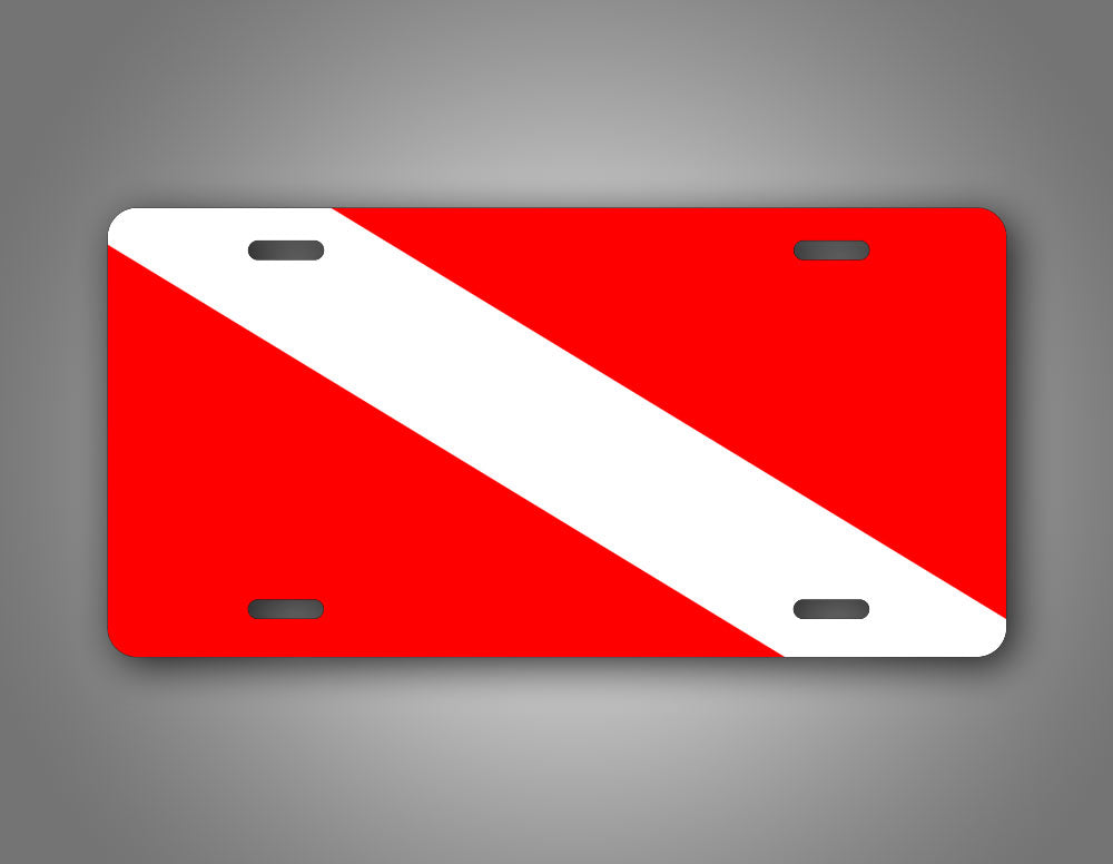 Diver Down Red And White Diving Flag License Plate