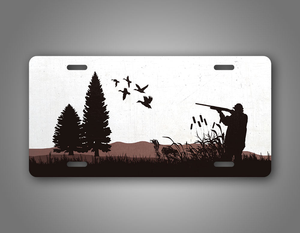 Duck Hunter And Retriever Dog Silhouette License Plate