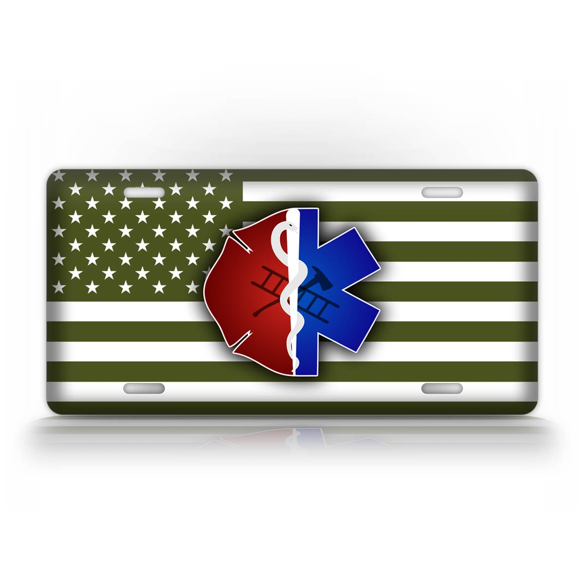 Green American Flag EMT First Responder Fire Fighter EMS License Plate