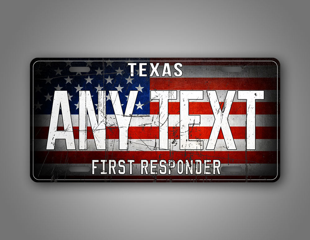 Custom Text First Responder American Flag License Plate