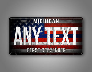 Personalized First Responder American Flag License Plate