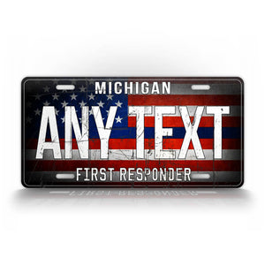 Personalized First Responder Blue Line License Plate