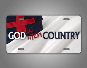 Christian Flag God Then Country License Plate