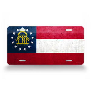 Georgia State Flag Weathered Metal License Plate