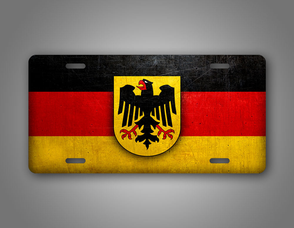 German Flag With Coat Of Arms Weathered Metal Germany Flag Auto Tag