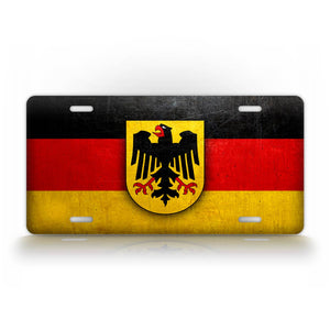German Flag With Coat Of Arms Weathered Metal License Plate