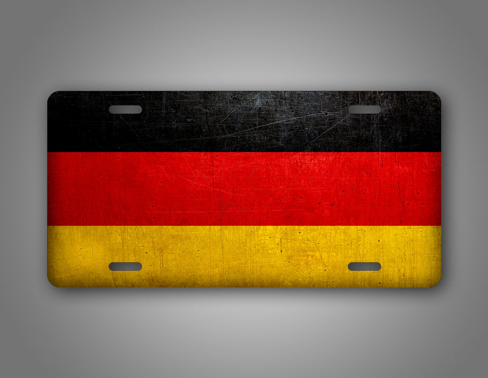 German Flag With Coat Of Arms Weathered Metal Germany Flag License Plate