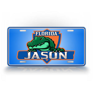 Green And Blue Floida Gators Custom Text License Plate