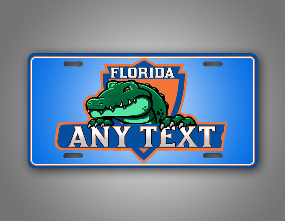 Green And Blue Floida Gators Custom Text Auto Tag