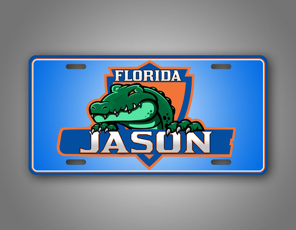 Custom Green And Blue Floida Gators Custom Text License Plate