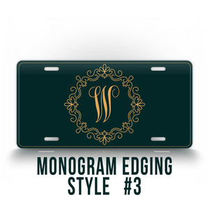 Monogrammed Green License Plate