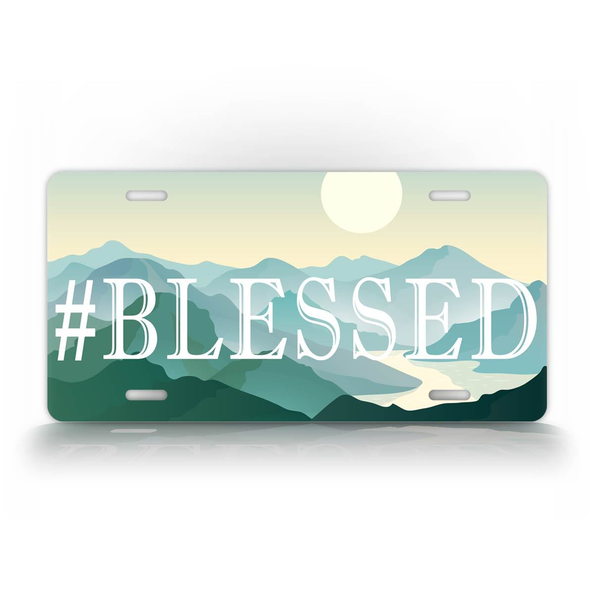 Hashtag Blessed Mountains License Plate Tag