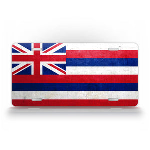 Hawaii State Flag Weathered Metal License Plate