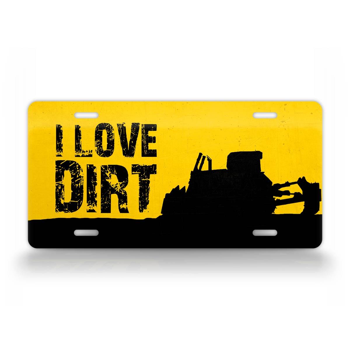 I love Dirt CAT Bulldozer License Plate