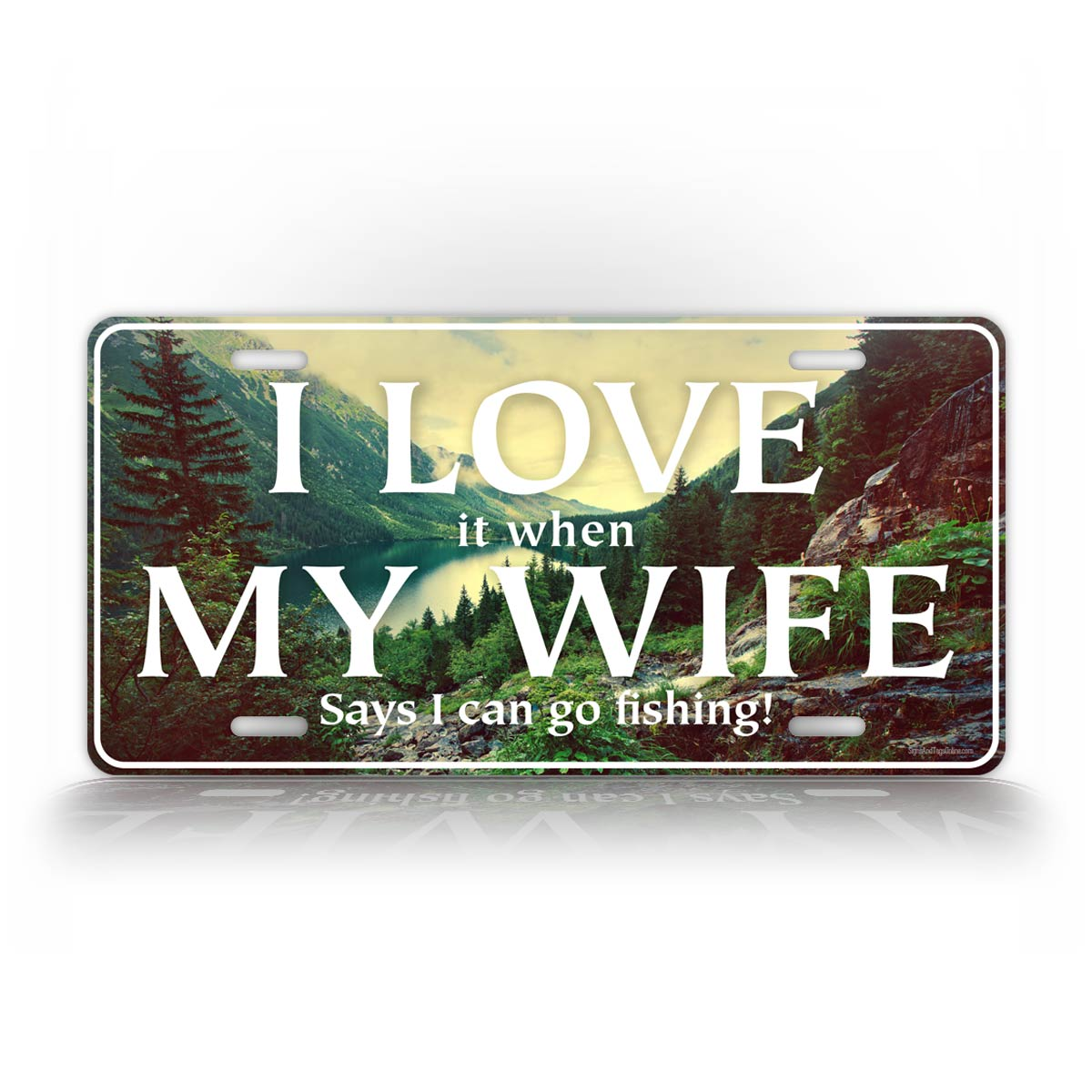 Funny Fishing License Plate With Nature Photo Background