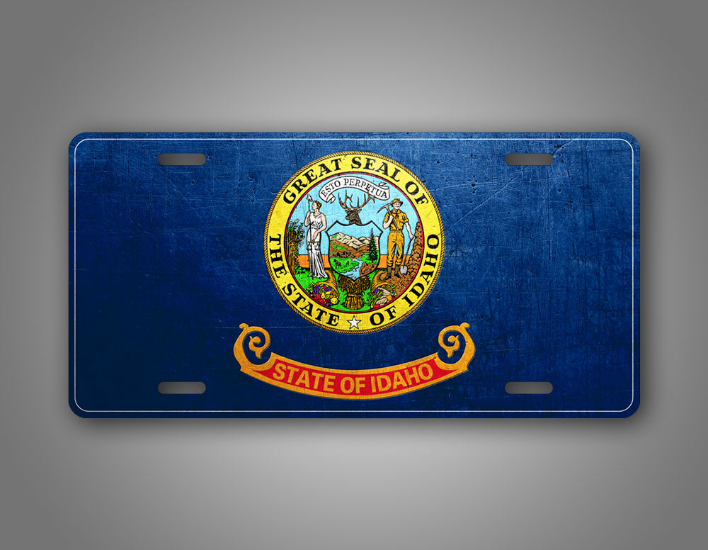Weathered Metal Idaho State Flag Auto Tag