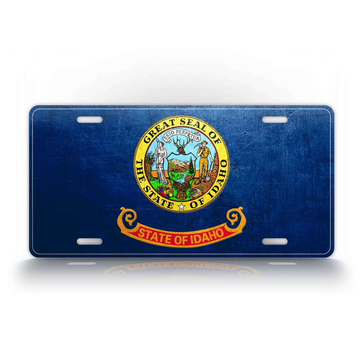 Idaho State Flag Weathered Metal License Plate