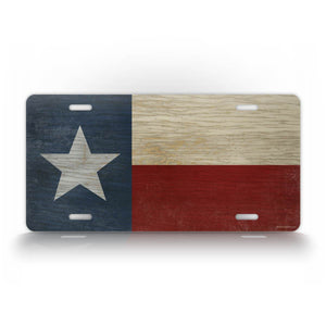 Wooden Americana Style Texas State Flag License Plate