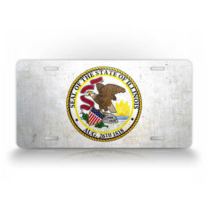 Illinois State Flag Weathered Metal License Plate
