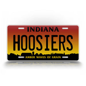 Any Text Custom Indiana Amber Waves Of Grain Hoosiers License Plate