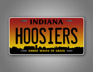 Custom Any Text Indiana Amber Waves Of Grain Hoosiers Auto Tag