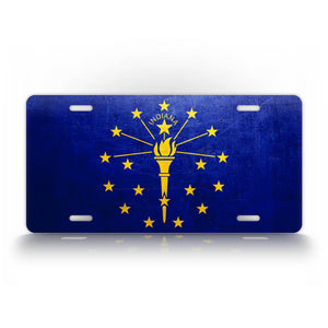 Weathered Metal Indiana State Flag License Plate