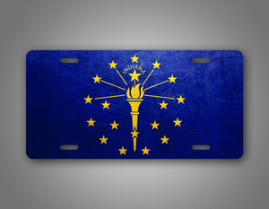 Weathered Metal Indiana State Flag Auto Tag