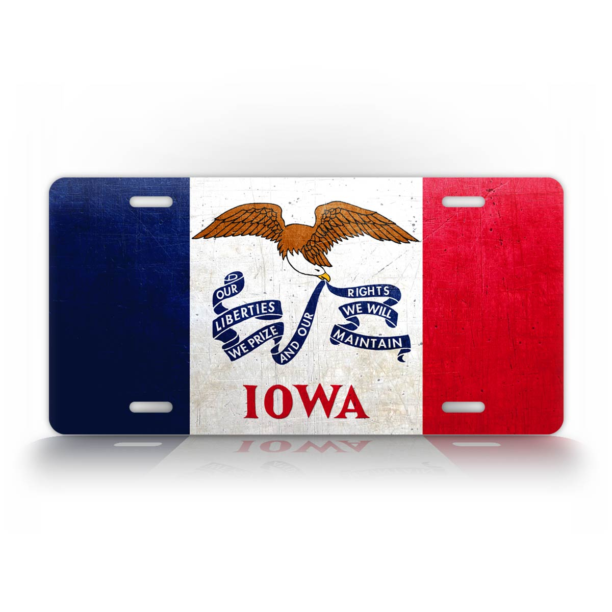 Iowa State Flag Weathered Metal License Plate
