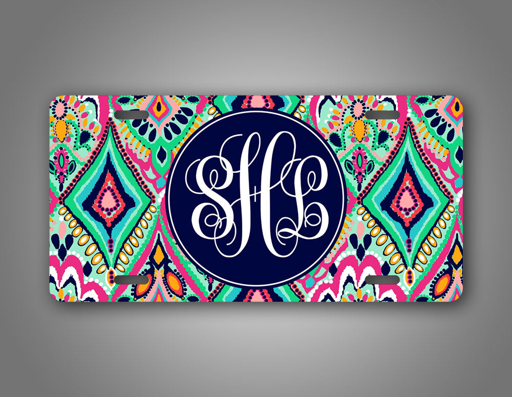 Custom Jewel Monogram License Plate