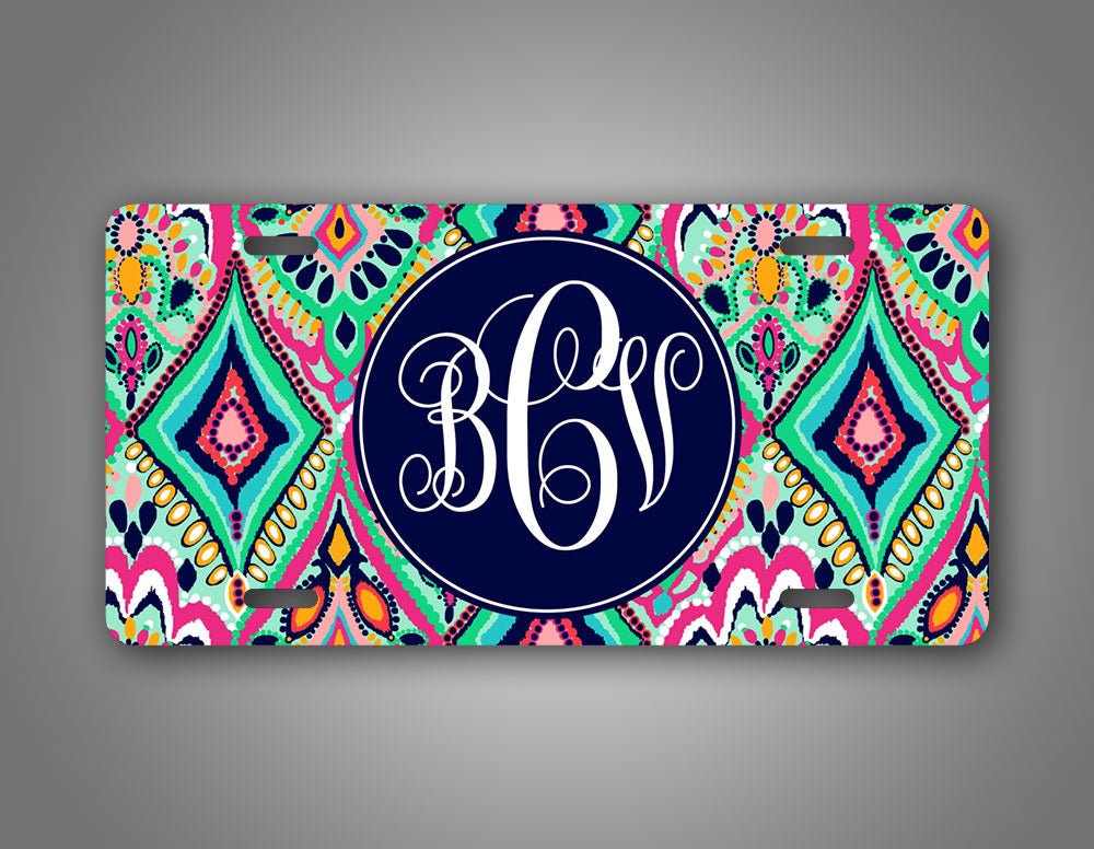 Personalized Jewel Design Monogram License Plate