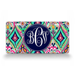 Custom Jewel Style Monogram Auto Tag