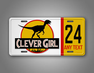 Custom Clever Girl Dinosaur Jeep License Plate