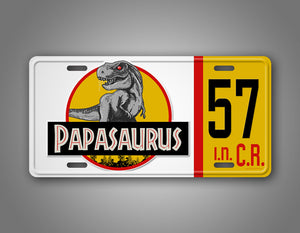Custom Papasaurus Dinosaur Jeep License Plate
