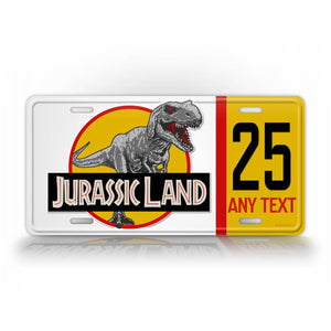 Jurassic Land Custom License Plate Any Text Movie Auto Tag
