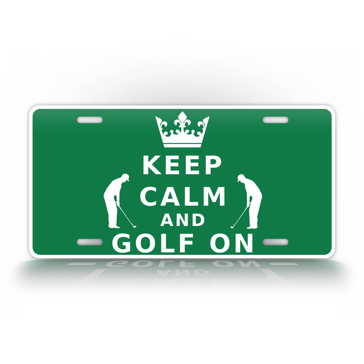 Keep Calm And Golf On Green License Plate